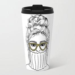 Turtleneck Girl Portrait Travel Mug