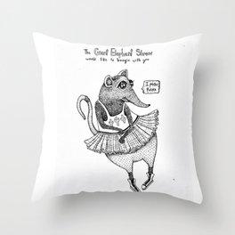 E is for Elephant Shrew Throw Pillow