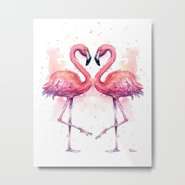 Flamingo Watercolor Two Flamingos in Love Metal Print