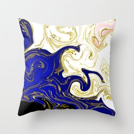 blue ,gold,rose,black,golden fractal, vibrations, circles modern pattern, Throw Pillow