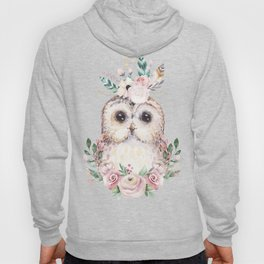 Forest Owl Floral Pink by Nature Magick Hoody