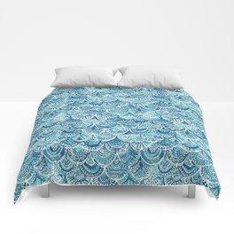SPLASH Blue Watercolor Mermaid Scales Comforters