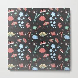 Oriental pattern_black_ version Metal Print