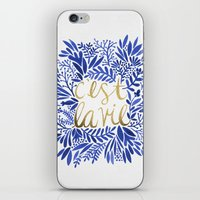waldo iPhone & iPod Skins featuring That's Life – Gold & Blue by Cat Coquillette