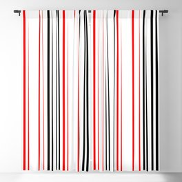 red black and white abstract striped pattern Blackout Curtain