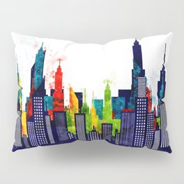 Colorful City Buildings And Skyscrapers In Watercolor, New York Skyline, Wall Art Poster Decor, NYC Pillow Sham