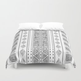 Mud Cloth White and Black Vertical Pattern Duvet Cover