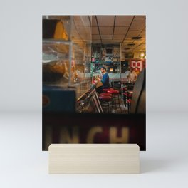 Young Man in the Cafeteria Mini Art Print