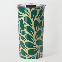 Gold and Green Leaves Pattern Travel Mug