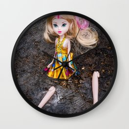 Disabled, beautiful, barbie style doll with legs separated Wall Clock