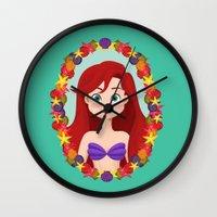 ariel Wall Clocks featuring Ariel  by Joey Ellson