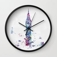 london Wall Clocks featuring London by Watercolorist