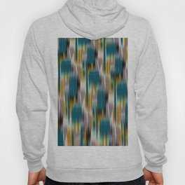 abstract ikat in dark teal and olive Hoody