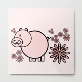 Pink pig in flowers Metal Print