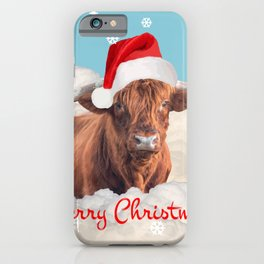 Highland Cow Santa Claus Merry Christmas snow Clouds iPhone Case