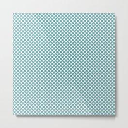 Aqua Sea and White Polka Dots Metal Print