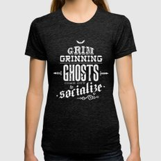 Haunted Mansion - Grim Grinning Ghosts MEDIUM Womens Fitted Tee Tri-Black
