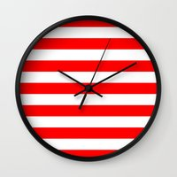 stripes Wall Clocks featuring Horizontal Stripes (Red/White) by 10813 Apparel