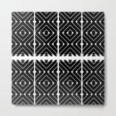 MONOCHROMA Geometrica : Black & White Box Pattern Metal Print