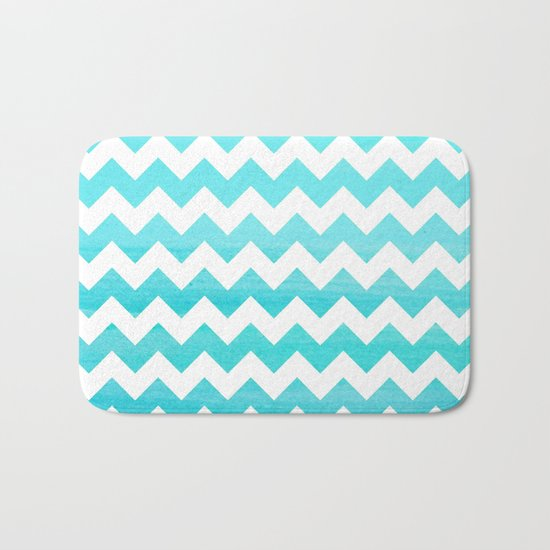 Aqua Blue chevron ZigZag Herringbone - watercolor on white pattern #Society6 Bath Mat
