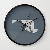 maryland Wall Clocks featuring Maryland State by Eric Heikkinen