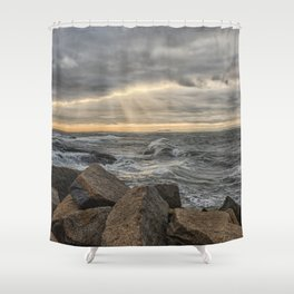 Sunbeams at Lanescove with rough waves Shower Curtain