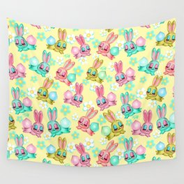 Bunnies and Daisies on Yellow Wall Tapestry
