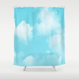 Aqua Blue Clouds Shower Curtain