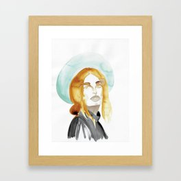 Judy with a Mint-Coloured Hat Framed Art Print