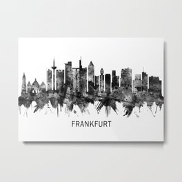 Frankfurt Germany Skyline BW Metal Print