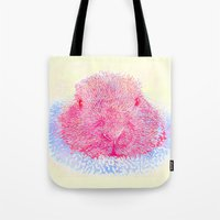 guinea pig Tote Bags featuring Herr Guinea Pig by Heidi Fairwood