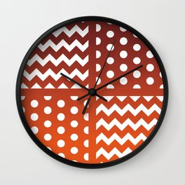 Autumn Gradient/White Chevron/Polkadot Pattern Zigzag Spot Fall Decor #ArtofGaneneK Wall Clock