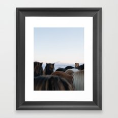 Horses - Iceland   landscape - photography - print - winter - travel - arctic - animal - nature Framed Art Print