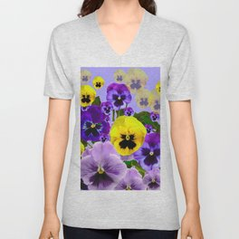 SPRING PURPLE & YELLOW PANSY FLOWERS Unisex V-Neck
