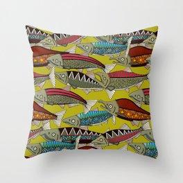 Alaskan salmon chartreuse Throw Pillow