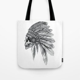 Indian Chief Skull Tote Bag