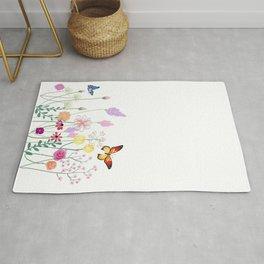 Floral ,botanical,butterflies design Rug