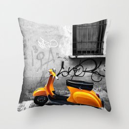 Orange Vespa in Bologna Black and White Photography Throw Pillow