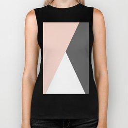 Elegant blush pink & grey geometric triangles Biker Tank