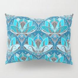 Art Deco Lotus Rising - black, teal & turquoise pattern Pillow Sham