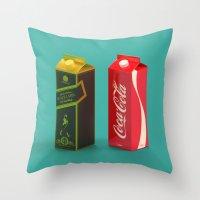 whisky Throw Pillows featuring Whisky Cola by Maxim Kirienko Art