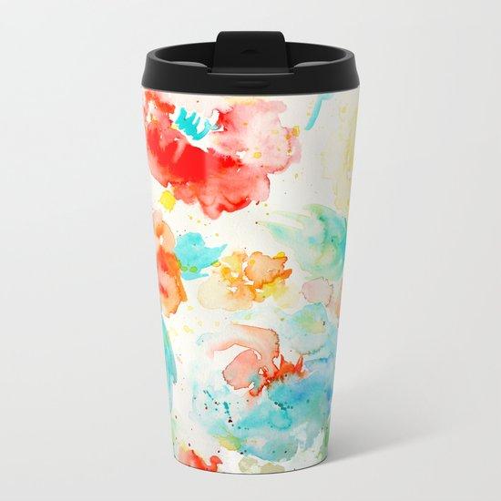 Abstract Flowers 02 Metal Travel Mug