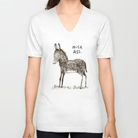 ass V-neck T-shirts featuring Nice Ass by Sophie Corrigan
