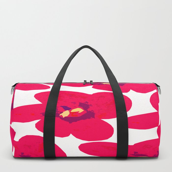 Red Retro Flowers #decor #society6 #buyart Duffle Bag