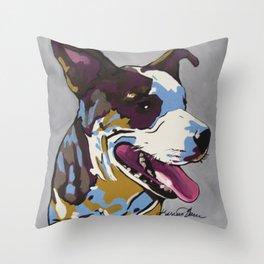 Barker the American Bulldog Mix Throw Pillow