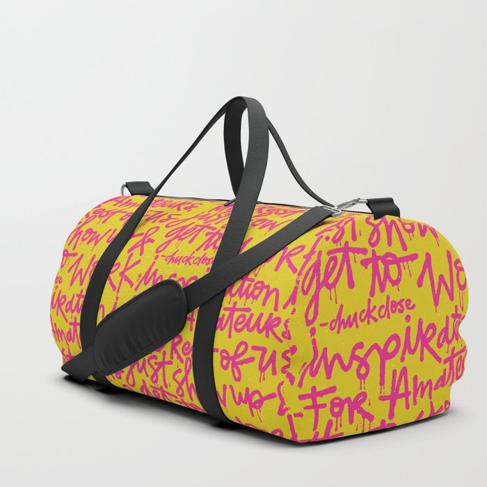Inspiration is for amateurs x typography Duffle Bag