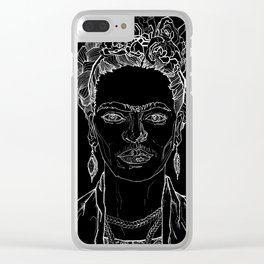 Geometric Black and White Drawing Frida Kahlo Clear iPhone Case