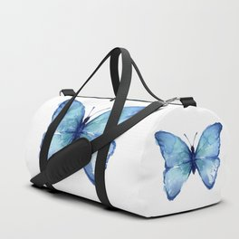 Blue Butterfly Watercolor Duffle Bag