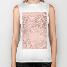 Modern rose gold floral illustration on blush pink Biker Tank