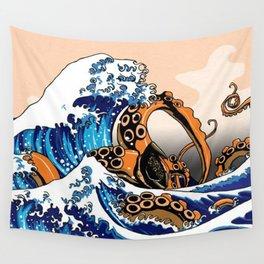 Kraken in Kanagawa Wave Wall Tapestry